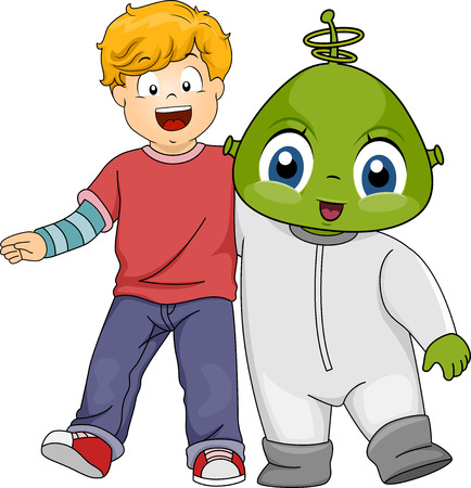 Illustration Featuring a Little Boy and His Alien Friend Vector