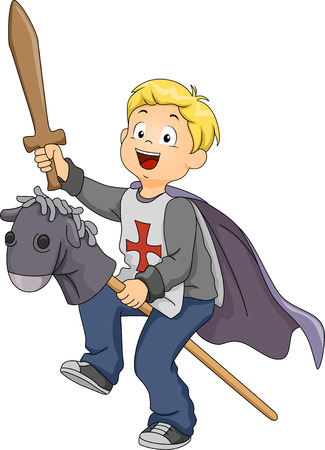 pretend: Illustration of a Boy Pretending to be a Knight