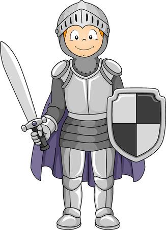 Illustration, die eine Junge, der einen Ritter-Kostüm Vektorgrafik