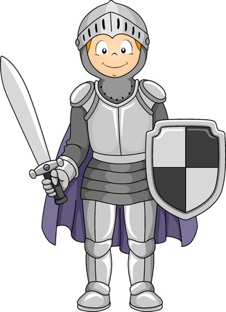 costumes: Illustration Featuring a Boy Wearing a Knight Costume