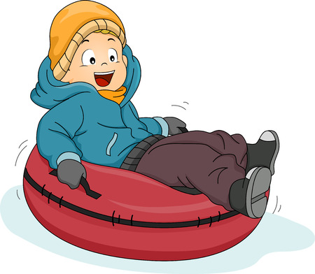 slippery: Illustration Featuring a Boy Riding a Snow Tube Illustration
