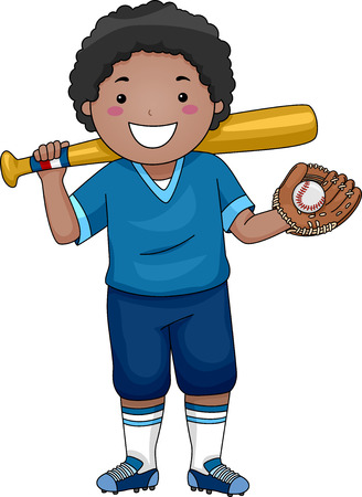 Illustration Featuring a Young Baseball Player 版權商用圖片 - 33520452