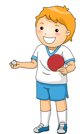individual sports: Illustration Featuring a Young Table Tennis Player