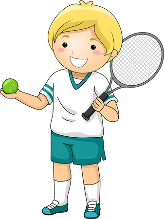 kids playing sports: Illustration Featuring a Young Tennis Player