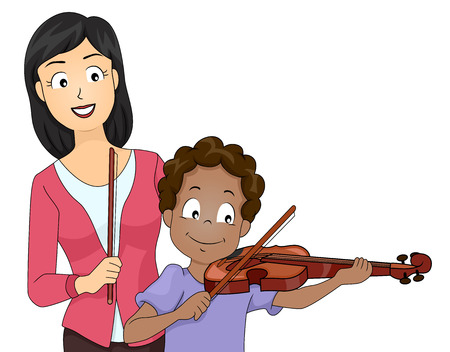 Illustration Featuring a Boy Taking Violin Lessons