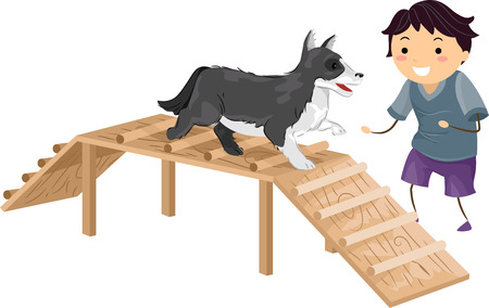 agility dog: Illustration Featuring a Boy Performing an Agility Test While Its Master Cheers it On Illustration