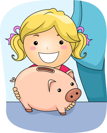 Illustration Featuring a Girl Holding a Piggy Bank Vector