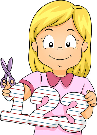 Illustration Featuring a Little Girl Holding a Cutout of Numbers Illustration
