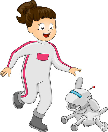 Illustration Featuring a Girl Playing with a Robot Dog Vector
