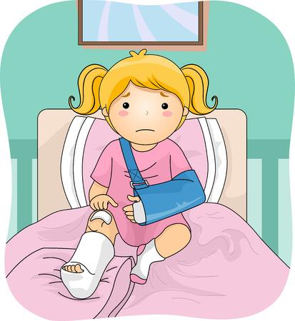 Illustration Featuring an Injured Girl Wearing a Leg Cast Vector