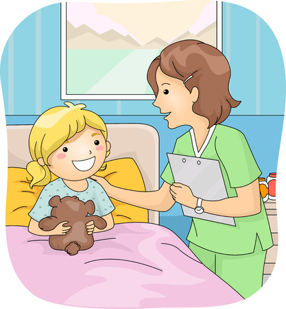 hospitalized: Illustration Featuring a Nurse Attending to Her Young Patient