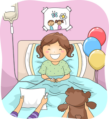 stuffed animal: Illustration Featuring a Little Girl Being Visited by Her Friends in the Hospital