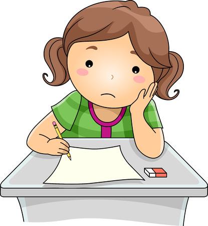Illustration der ein Mädchen, das traurig schaut beim Beantworten Test-Fragen Illustration