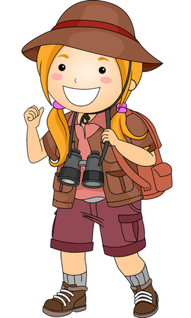 Illustration Featuring a Girl Wearing a Safari Outfit Vector