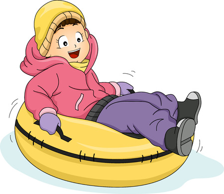 slippery: Illustration Featuring a Little Girl Riding a Snow Tube Illustration