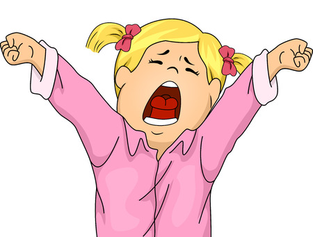 letting: Illustration Featuring a Girl in Pajamas Letting Out a Big Yawn