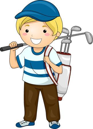 Illustration Featuring a Boy Wearing Golfing Gear Vector