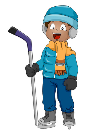 Illustration Featuring a Boy Wearing Ice Hockey Gear Vector