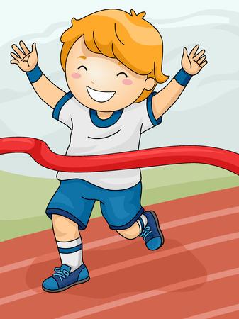 Illustration, die eine Boy ein Rennen gewinnen