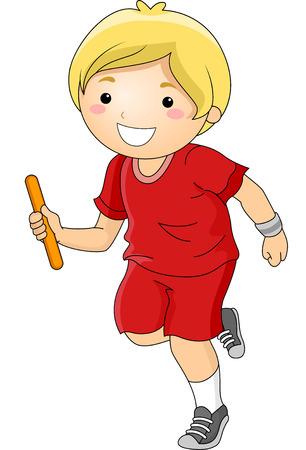 carrera de relevos: Ilustración con un muchacho Participar en una carrera de relevos