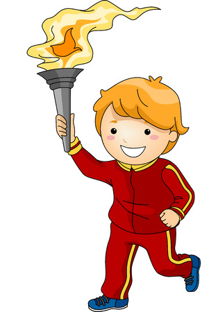 torch: Illustration Featuring a Young Male Torchbearer