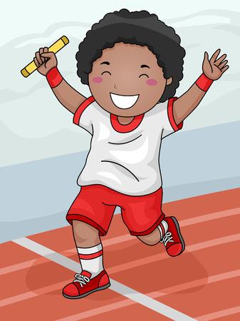 carrera de relevos: Ilustración con un muchacho que gana la carrera de relevos de su equipo