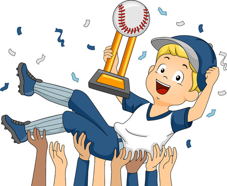 baseball player: Illustration Featuring a Baseball Player Being Lifted by His Teammates in Celebration of Their Victory Illustration