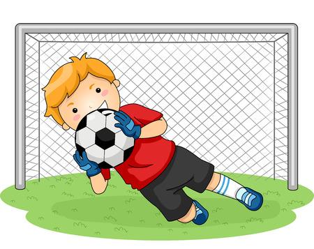 portero: Ilustración con un portero joven que coge un balón de fútbol Vectores