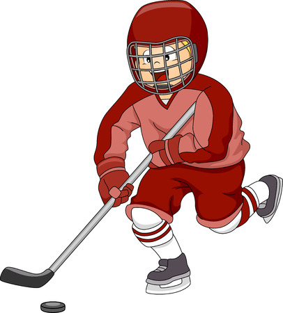 Illustration Featuring an Ice Hockey Player Moving the Puck Across the Ice Vector