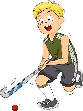 equipe sport: Illustration Dot� d'un joueur de hockey sur gazon de d�placer la balle � travers le champ