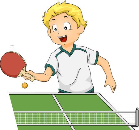 ilustracion: Ilustración con un niño jugando tenis de mesa Vectores