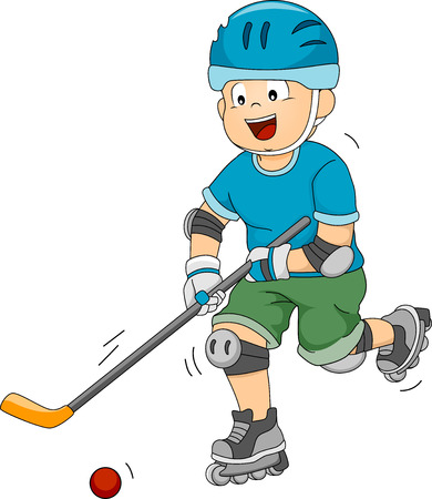 ice hockey player: Illustration Featuring a Roller Hockey Player Moving the Ball Across the Ice
