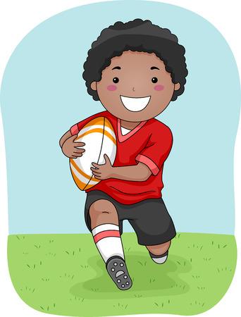 Ilustración con un jugador joven Rugby Correr por el campo
