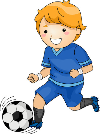 kicking ball: Illustration Featuring a Young Soccer Player Running Across the Field Illustration