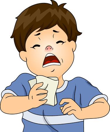 estornudo: Ilustración con un muchacho Tener un ataque de estornudos debido a una reacción alérgica