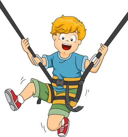 safety harness: Illustration Featuring a Boy Bouncing Off a Trampoline Illustration