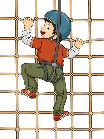 niño trepando: Ilustración que ofrece un Muchacho que sube una pared Net Vectores