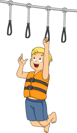 Illustration Featuring a Boy Holding On to a Hand Grip at an Obstacle Course