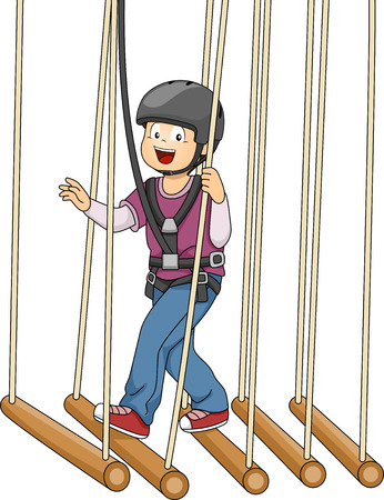 Illustration Featuring a Boy Crossing a Bamboo Bridge Suspended on Ropes Vector