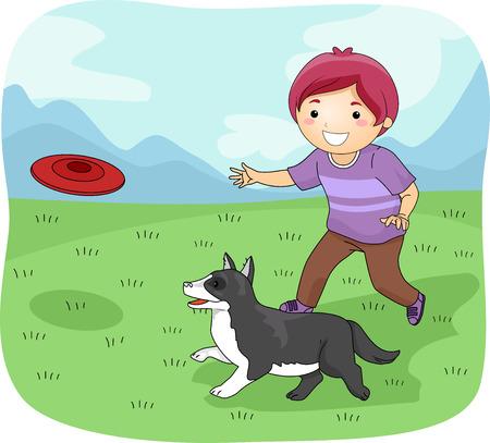 dogs playing: Ilustraci�n con un ni�o jugando frisbee con su perro
