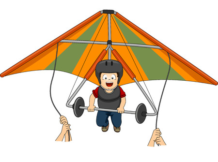 hang gliding: Illustration Featuring a Boy Riding a Hang Glider