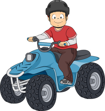 rural road: Illustration Featuring a Boy Riding an All Terrain Vehicle