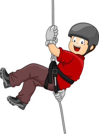 niño trepando: Ilustración con un muchacho rapel por una pared Vectores