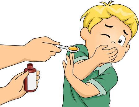 enfant malade: Illustration Doté d'un garçon refuse de prendre ses médicaments