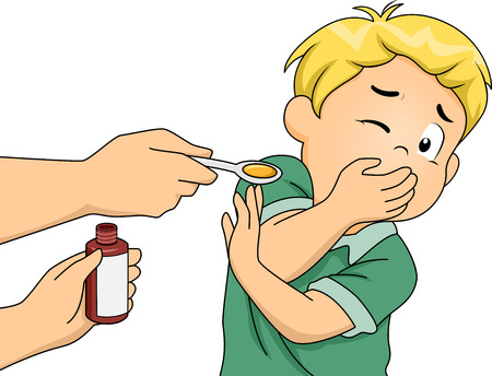 Ilustración con un muchacho Negarse a tomar su medicina Ilustración de vector