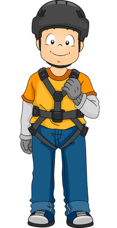 harness: Illustration Featuring a Boy Wearing Safety Gear Illustration