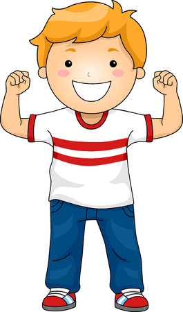 Illustration Featuring a Boy Flexing His Muscles to Demonstrate His Strength Vettoriali