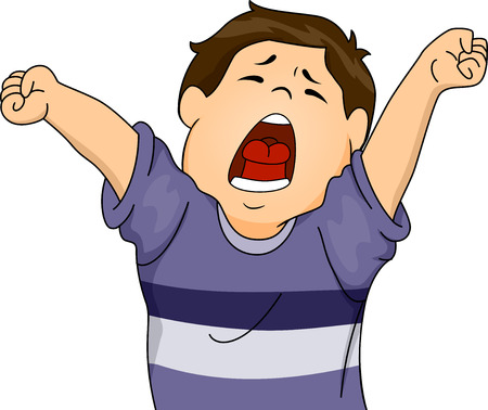 letting: Illustration Featuring a Boy Letting Out a Big Yawn While Stretching Illustration