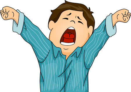 Illustration Featuring a Boy in Pajamas Letting Out a Big Yawn While Stretching