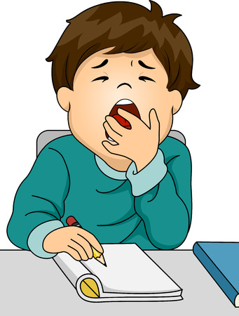 boring: Illustration Featuring a Boy Letting Out a Big Yawn While Studying
